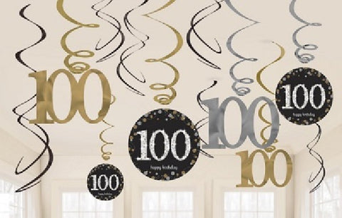 12PK 100TH BIRTHDAY GOLD SWIRLS