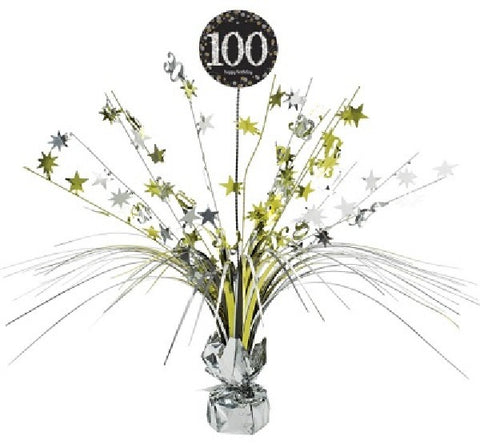 100TH SPARKLES BLACK & GOLD CENTREPIECE