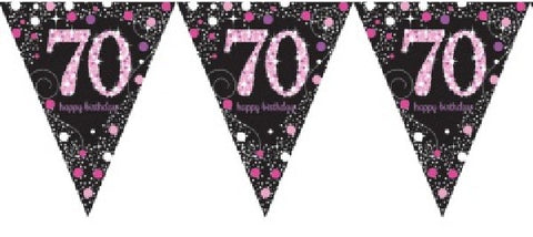 PINK SPARKLES AGE 70 BUNTING