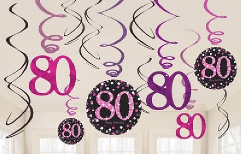 12PK 80TH BIRTHDAY PINK SWIRLS