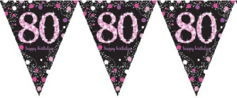 PINK SPARKLES AGE 80 BUNTING