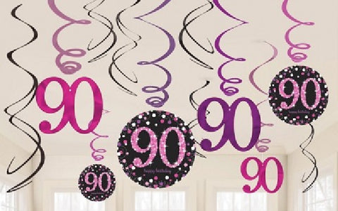 12PK 90TH BIRTHDAY PINK SWIRLS