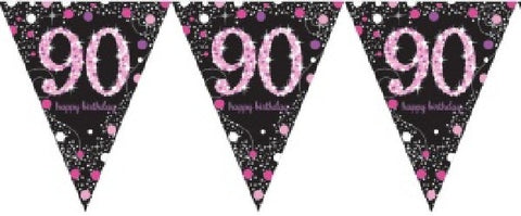 PINK SPARKLES AGE 90 BUNTING