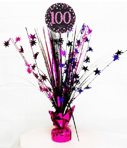 100TH PINK SPARKLES CENTREPIECE