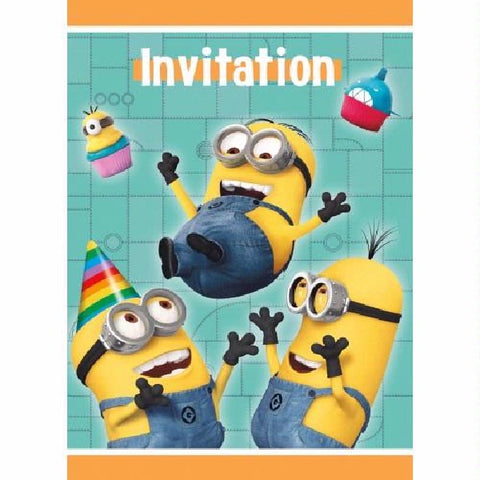 8PK DESPICABLE ME INVITATIONS