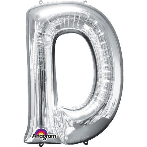 16IN SILVER LETTER D SHAPED FOIL AIR BALLOON