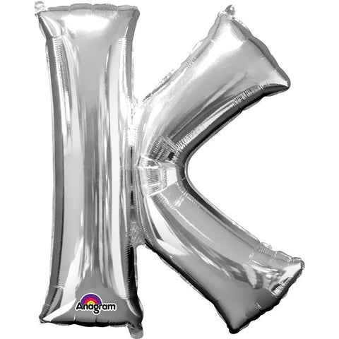 16IN SILVER LETTER K SHAPED FOIL AIR BALLOON