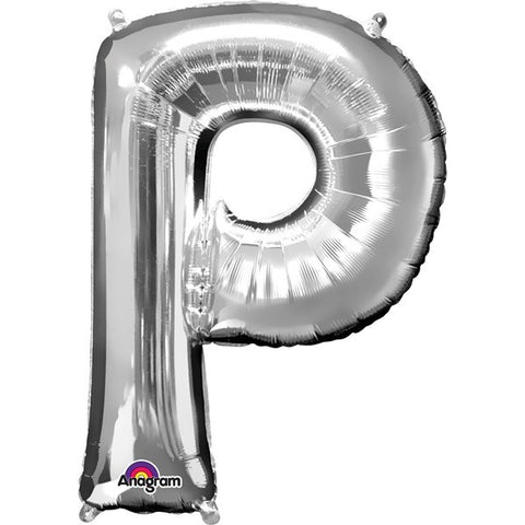 16IN SILVER LETTER P SHAPED FOIL AIR BALLOON
