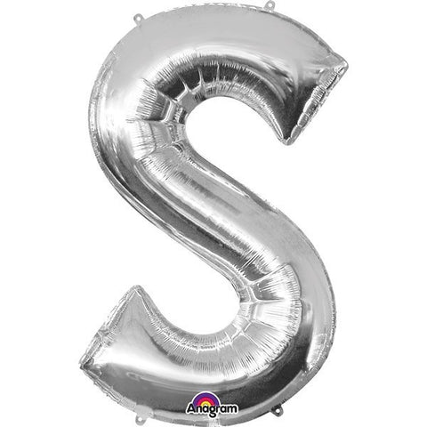 16IN SILVER LETTER S SHAPED FOIL AIR BALLOON