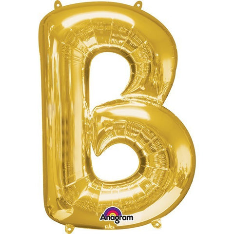 16IN GOLD LETTER B SHAPED FOIL AIR BALLOON