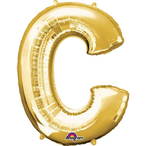 16IN GOLD LETTER C SHAPED FOIL AIR BALLOON