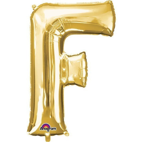 16IN GOLD LETTER F SHAPED FOIL AIR BALLOON