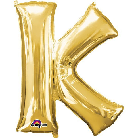 16IN GOLD LETTER K SHAPED FOIL AIR BALLOON
