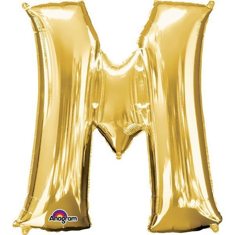 16IN GOLD LETTER M SHAPED FOIL AIR BALLOON