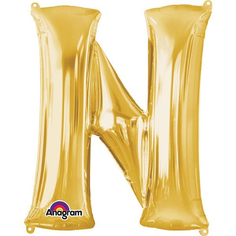 16IN GOLD LETTER N SHAPED FOIL AIR BALLOON