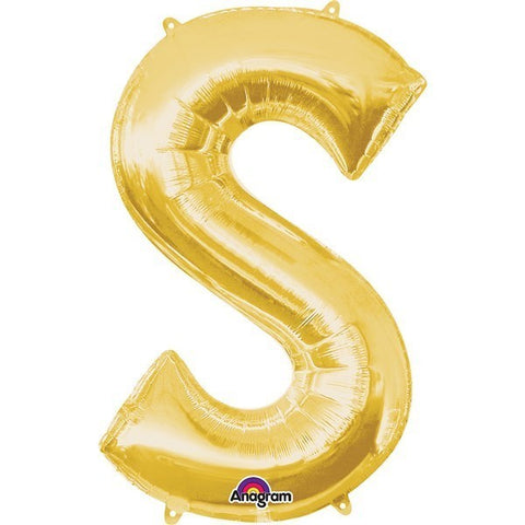 16IN GOLD LETTER S SHAPED FOIL AIR BALLOON