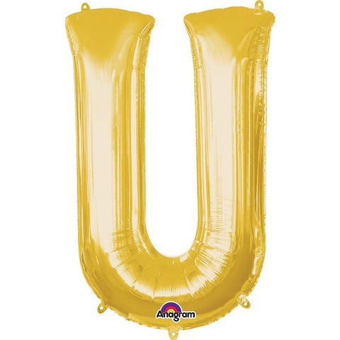 16IN GOLD LETTER U SHAPED FOIL AIR BALLOON