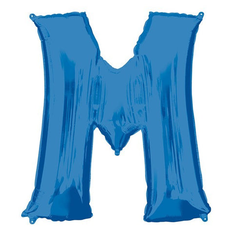 16IN BLUE LETTER M SHAPED FOIL AIR BALLOON