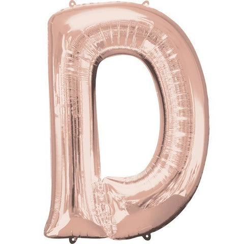 16IN ROSE GOLD LETTER D SHAPED FOIL AIR BALLOON
