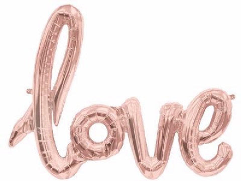 AIR BALLOONS ROSE GOLD LOVE FOIL SCRIPT