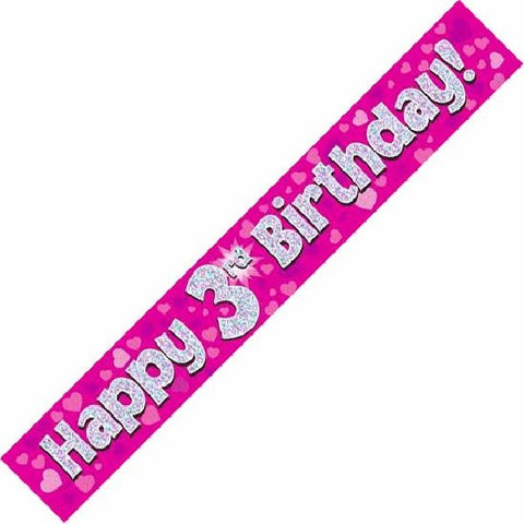 BANNER FOIL 3RD BIRTHDAY PINK
