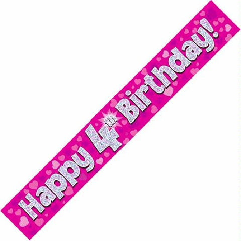 BANNER FOIL 4TH BIRTHDAY PINK