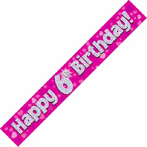 BANNER FOIL 6TH BIRTHDAY PINK