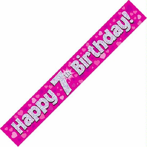 BANNER FOIL 7TH BIRTHDAY PINK