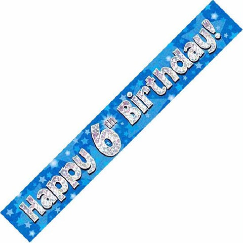 BANNER FOIL 6TH BIRTHDAY BLUE