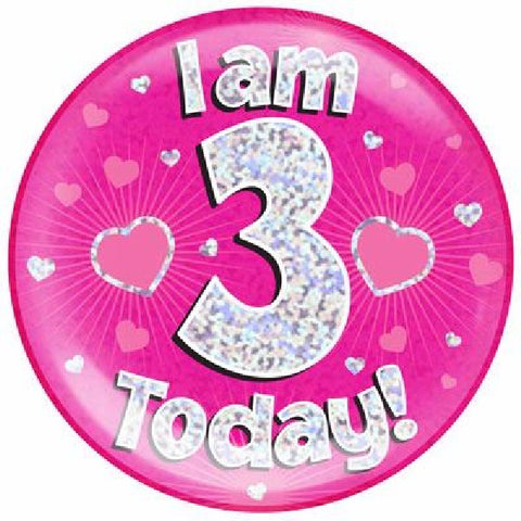 BADGE 6IN 3 TODAY PINK JUMBO
