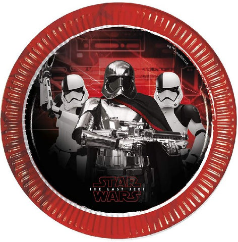 8PK 23CM STAR WARS THE LAST JEDI PLATES