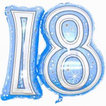 28IN 18TH BLUE FOIL BALLOON - Code 00310