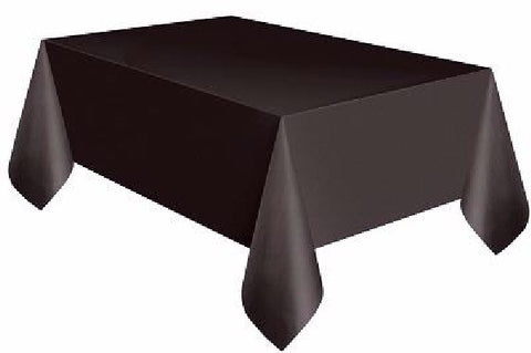 BLACK OBLONG PLASTIC TABLECOVER