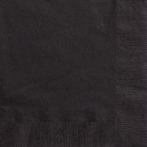 50PK 33CM MIDNIGHT BLACK NAPKINS