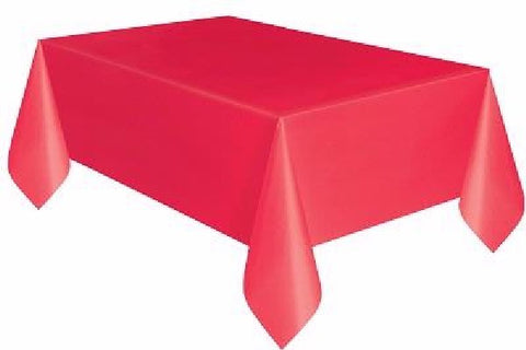 RED PLASTIC OBLONG TABLECOVER