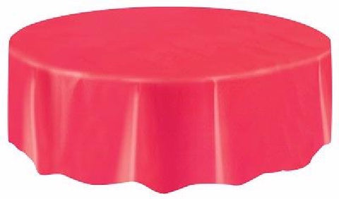 RUBY RED ROUND PLASTIC TABLECOVER