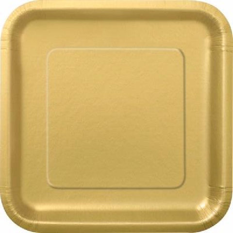 14PK 9IN GOLD SQUARE PLATES
