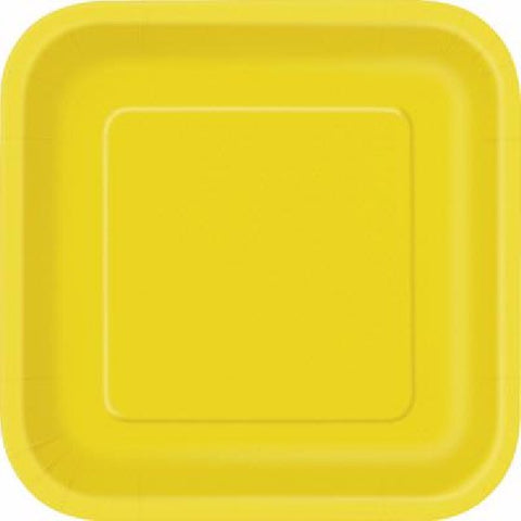 14PK 9IN YELLOW SQUARE PLATES