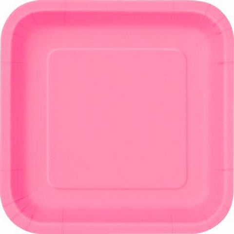 14PK HOT PINK 9IN SQUARE PLATES