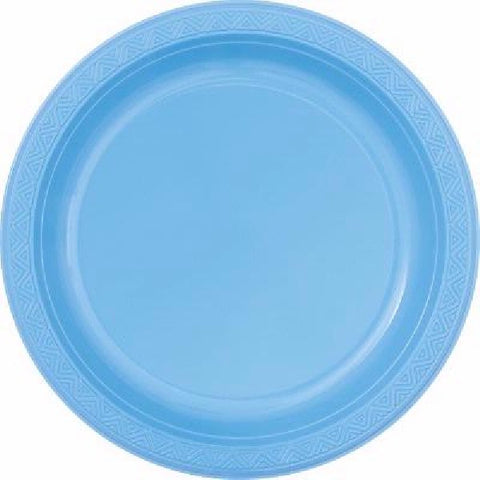 8PK POWDER BLUE PLASTIC PLATES