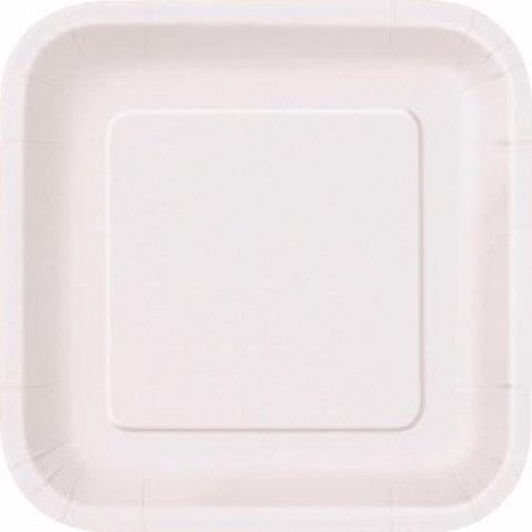 14PK 9IN BRIGHT WHITE SQUARE PLATES
