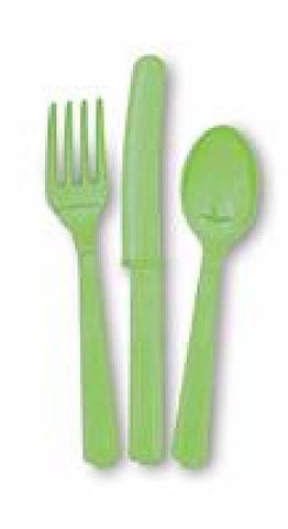 18PK ASST LIME GREEN CUTLERY