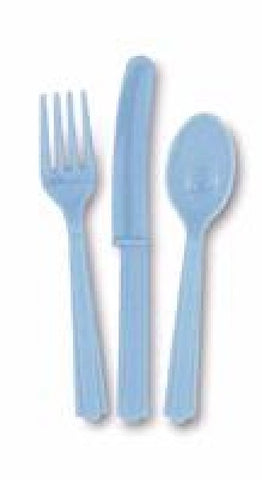 18PK ASST POWDER BLUE CUTLERY