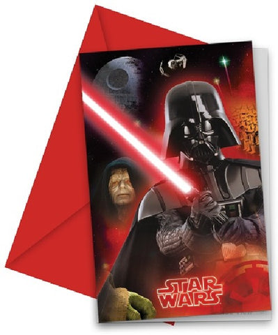 6PK STAR WARS INVITATIONS