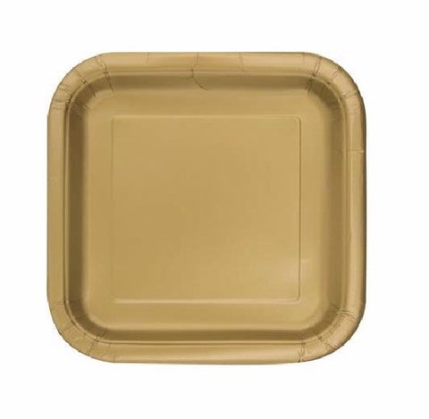 16PK 7IN GOLD SQUARE PLATES