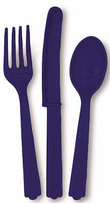 18PK NAVY BLUE ASSORTED CUTLERY