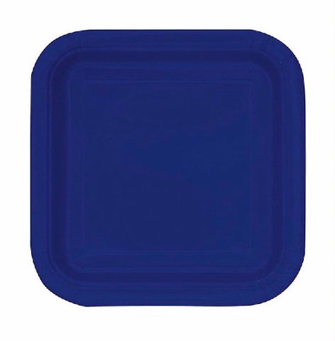 16PK 7IN NAVY BLUE SQUARE PLATES