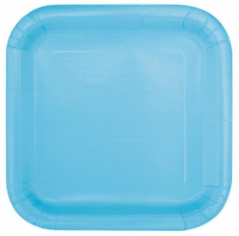 16PK 7IN POWDER BLUE SQUARE PLATES