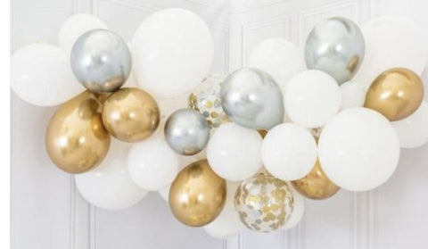 Chrome & Confetti Balloon Arch