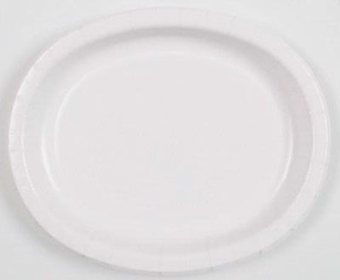 8PK BRIGHT WHITE OVAL PLATES